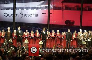 Derek Jacobi, Gardar Thor Cortes, Alfie Bow and Jon Christos  perform with choirs and a Royal Marine band at...