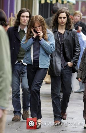 Cillian Murphy and Sienna Miller  on location filming the 60's inspired movie 'Hippie Hippie Shake'. Sienna is wearing a...