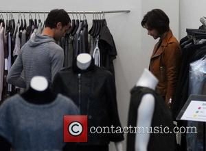 Katie Holmes shopping at The Corner at Gendarmenmarkt. She bought the brown leather jacket she's wearing in the picture Berlin,...