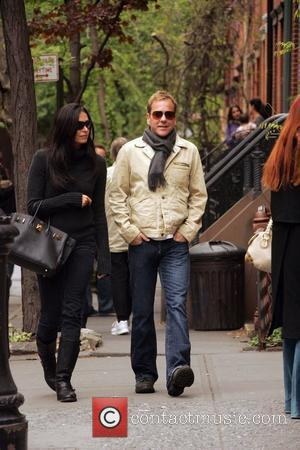 Kiefer Sutherland going for a walk with his girlfriend in the West Village after having lunch New York City, USA...