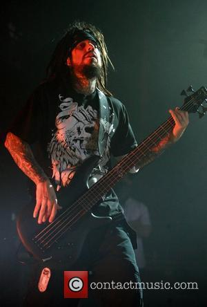 Reginald Arvizu of Korn perform on the 'Bitch! We Have A Problem Tour 2008' at the Wolverhampton Civic Hall...