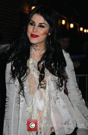 American tattoo artist Kat Von D outside Ed Sullivan Theatre for the 'Late Show With David Letterman' New York City,...
