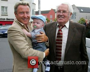 Three generations of Michael Flatley, his son, Michael Jr and father Michael Flatley Snr arrive for the launch of the...