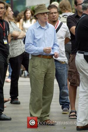 Woody Allen on the set of his new movie 'Midnight in Barcelona' (working title) due for release in 2008 Las...