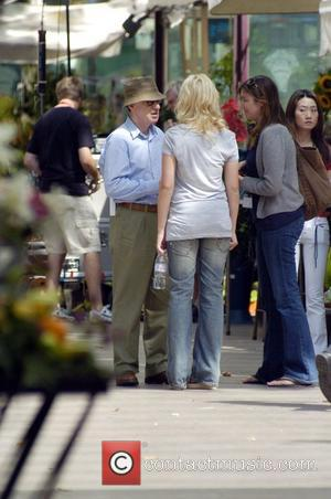 Woody Allen and Scarlett Johansson on the set of his new movie 'Midnight in Barcelona' (working title) due for release...