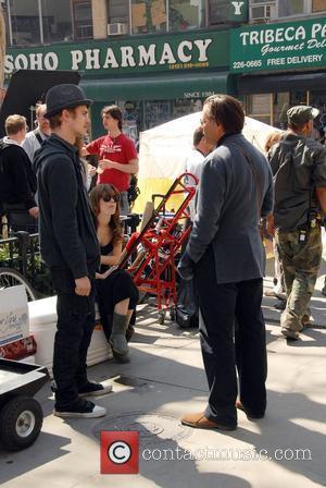 Hayden Christensen, Rachel Bilson and Andy Garcia on the film set of 'New York, I Love You' New York City,...