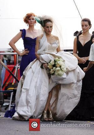 Cynthia Nixon, Sarah Jessica Parker and Kristin Davis on the film set for 'Sex And The City: The Movie' New...