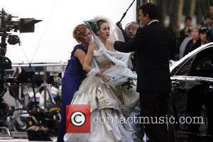 Cynthia Nixon, Sarah Jessica Parker and Chris Noth on the film set for 'Sex And The City: The Movie' New...