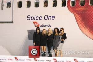 Spice Girls. From left are: Melanie Chisholm, Geri Halliwell, Emma Bunton, Melanie Brown and Victoria Beckham Virgin Atlantic names plane...