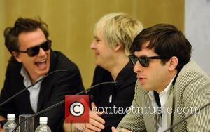 John Taylor and Nick Rhodes of Duran Duran with Mark Ronson at a press conference before the Smirnoff Experience Paris...