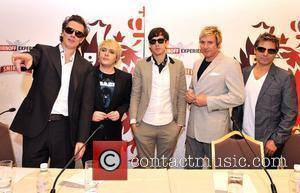John Taylor, Nick Rhodes, Simon Le Bon and Andy Taylor of Duran Duran with Mark Ronson (c)  at a...