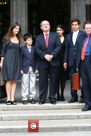 Elizabeth West, Milan Rushdie and Salman Rushdie  leaves the High Court Rushdie visited court to hear judgment on his...