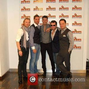 Ronan Keating, Keith Duffy, Shane Lynch, Stephen Gately and Mikey Graham visit 104.6 RTL Radio station in Berlin. Boyzone were...