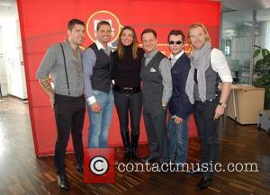 Shane Lynch, Keith Duffy, Alexandra Wenning, Mikey Graham, Stephen Gately and Ronan Keating visit 104.6 RTL Radio station in Berlin....
