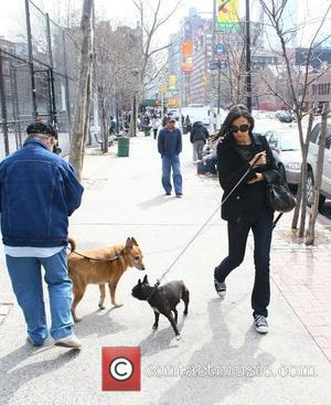 Famke Jansen walking her dog after having lunch with her boyfriend at Da silvano New York City, USA - 28.03.09