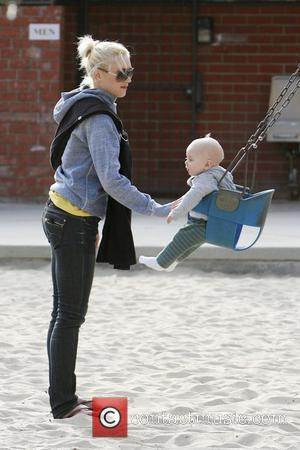 Gwen Stefani pushes baby Zuma in a swing as they spend the afternoon at a Beverly Hills Park Beverly Hills,...