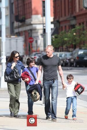 Jennifer Connelly and Paul Bettany pick up their children, Kai and Stellan, from school New York City, USA - 12.05.09