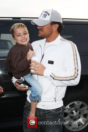 Peter Andre and Junior Leaving Gladstones Of Malibu