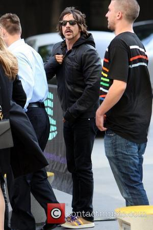 Anthony Kiedis of the Red Hot Chili Peppers Celebrities arrive to watch the Los Angeles Lakers game against the Denver...