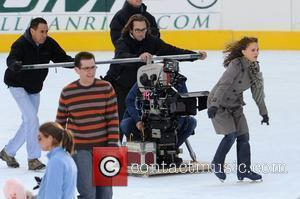 Natalie Portman on the set for 'Love and Other Impossible Pursuits' filming at the Wolman rink in Central Park New...