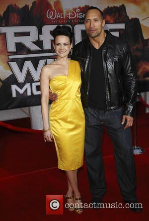 Carla Gugino and Dwayne Johnson