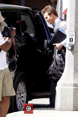 Sam Rockwell on the set of his film 'Iron Man 2'  Los Angeles, California - 07.04.09