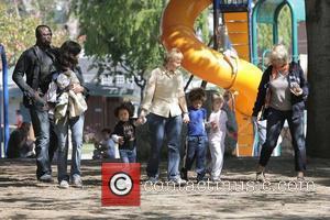 Seal, Henry Samuel, Johan Samuel, Leni Klum, and Erna Klum Seal takes his children to a soccer practice at a...