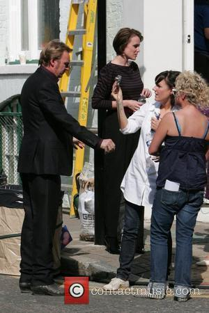 Philip Glenister and Keeley Hawes on the set of 'Ashes to Ashes' London, England - 12.09.09