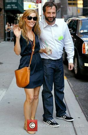 Leslie Mann and husband Judd Apatow outside Ed Sullivan Theatre for the 'Late Show With David Letterman' New York City,...