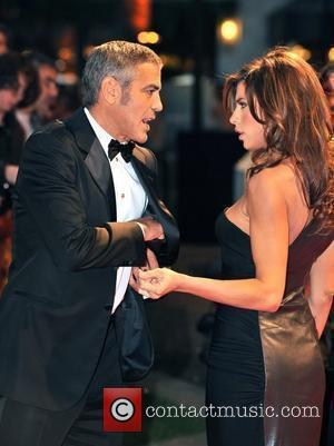 George Clooney and Elisabetta Canalis The Times BFI London Film Festival: Fantastic Mr Fox - opening gala held at the...