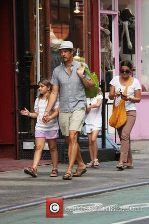 Actor Anthony Edwards and his wife Jeanine Lobell with two of their daughters out and about in New York New...