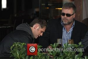 Brian McFadden  at his favourite restaurant, Sienna Marina, having a meal with Australian radio shock jock Kyle Sandilands Sydney,...
