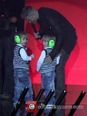 Nicky Byrne of Westlife and his children The Cheerios's Childline Concert 2010 at the O2 Arena Dublin - Concert Dublin,...