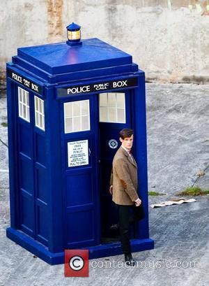 Matt Smith steps out of the Tardis 'Dr Who' actors on set filming on location in the south west of...