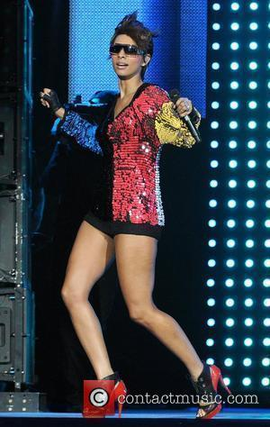 Singer Keri Hilson performs on stage at the Pepsi Smash Super Bowl XLIV Fan Jam on South Beach Miami, Florida...