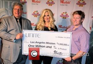 Kim Zolciak  Kim Zolciak presents one million dollars of Unite Hair Care products to the Los Angeles Mission at...