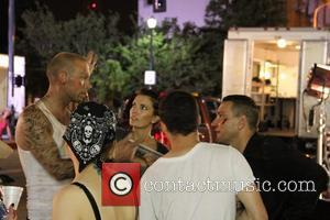 Luke Goss and Vinnie Jones filming on set of his new movie 'Blood Out'  The film also stars Tamer...