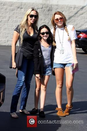 Tish Cyrus, Noah Cyrus and Miley Cyrus Miley Cyrus arriving at Paty's Restaurant in Toluca Lake to go out to...