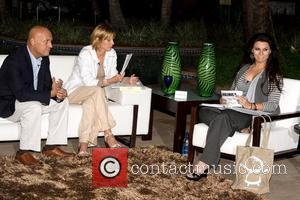 Latin singer Olga Tanon (right) on the set of the first broadcast of her monthly internet talk show 'Hablando D...