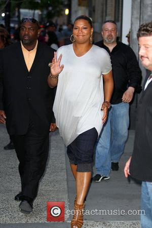 Queen Latifah with friends in Soho before an event to promote her new film 'Just Wright' at the Apple store...