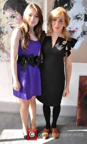 Sarah Bolger and Katarzyna Gajewska Irish actress Sarah Bolger is presented with her portrait by artist Katarzyna Gajewska at her...