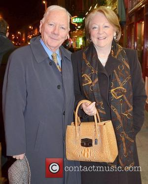 Gay Byrne, Kathleen Watkins,  at the opening night of John B Keane's 'The Field' at The Olympia Theatre -...