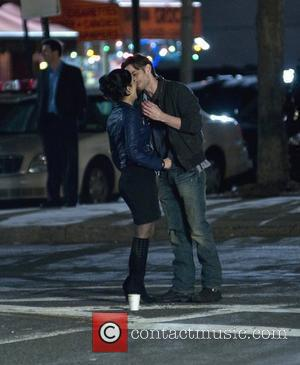 Archie Panjabi kissing a co-star on the set of 'The Good Wife' in Queens New York City, USA - 10.04.10
