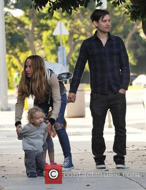Tobey Maguire and his wife Jennifer Meyer and their children Ruby Sweetheart and Otis Tobias, head out for a family...