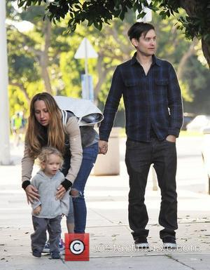 Tobey Maguire and his wife Jennifer Meyer with their son, Otis Tobias, head out for a family lunch in Santa...