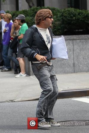 Willie Garson Matt Bomer and Willie Garson filming for the US hit series 'White Collar' on location in New York...