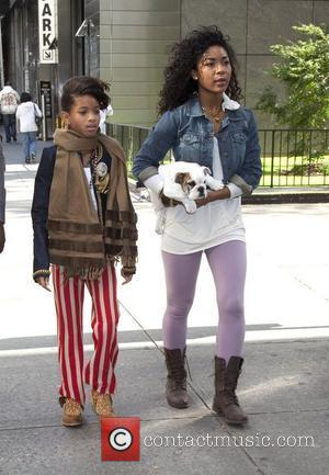 Willow Smith takes her dog for a walk in Manhattan New York City, USA - 19.10.10