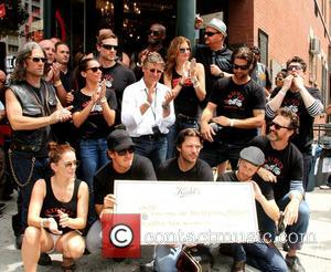 Chris Salgardo,Tyson Beckford, Tricia Helfer and pack check presentation at Kiehl's LifeRide for amfAR Block Party at Kiehi's Flagship Store...