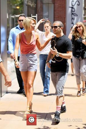 Chelsea Kane and Mark Ballas  'Dancing with the Stars' dancers arrive at The Grove to interview with Mario Lopez...