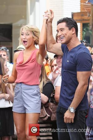 Chelsea Kane and Mario Lopez 'Dancing with the Stars' dancers arrive at The Grove to interview with Mario Lopez Los...